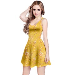 Yellow Yellow Pattern With Music Notes And Key Sleeveless Skater Dress