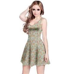 Brown Retro Pattern With Detailed Slices Of Pizza Sleeveless Skater Dress