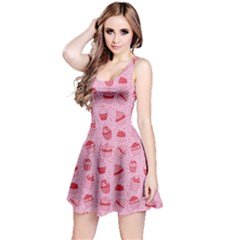 Pink Pattern With Sweet Cupcakes Sleeveless Skater Dress by CoolDesigns