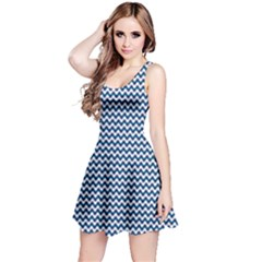 Blue Checkered Chevron Fabric Pattern Sleeveless Skater Dress by CoolDesigns