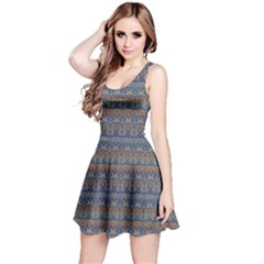 Blue Ethnic Pattern In Retro Colors Sleeveless Skater Dress