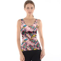 Colorful Pattern With Macaws Sitting On Branches Hand Drawn Tank Top by CoolDesigns