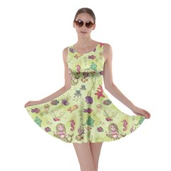 Colorful Pattern With Mermaid Cartoon Stylish Design Skater Dress by CoolDesigns