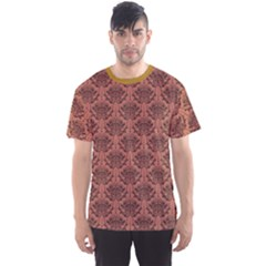 Brown Purple And Black Damask Floral Pattern Men s Sport Mesh Tee by CoolDesigns
