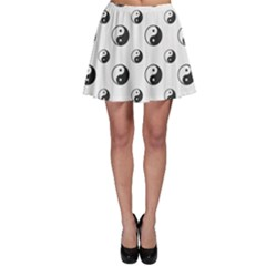 Gray Ying Yang Sign Harmony Symbol Grid Lines Pattern Skater Dress by CoolDesigns