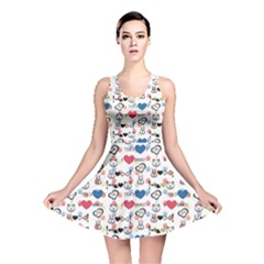 Colorful Dog And Cat Pattern Stylish Design Reversible Skater Dress by CoolDesigns