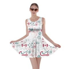 Colorful Fun Colorful Sketch Canada Pattern Skater Dress