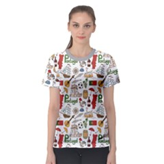 Colorful Fun Colorful Sketch Portugal Pattern Women s Sport Mesh Tee by CoolDesigns