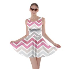 Pink Grunge Chevron Pattern Stylish Design Skater Dress by CoolDesigns