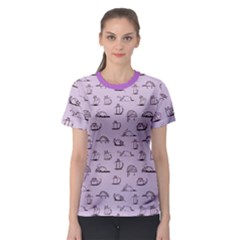 Purple Funny Cats Sketch Pattern For Your Design Women s Sport Mesh Tee