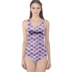 Purple Watercolor Retro Fish Scales Texture Pattern Women s One Piece Swimsuit by CoolDesigns