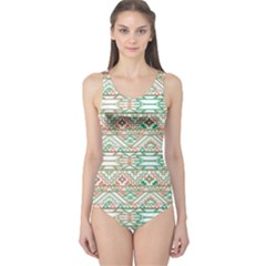 Gray Abstract Geometric Aztec Colorful Pattern Women s One Piece Swimsuit by CoolDesigns