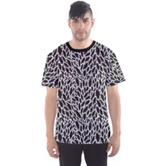Black And White Leaves Pattern Men s Sport Mesh Tee by CoolDesigns