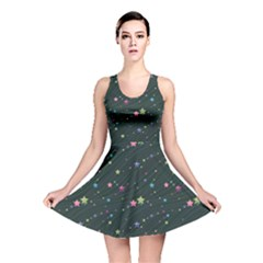 Black Abstract Olored Stars And Lines In The Night Sky Reversible Skater Dress