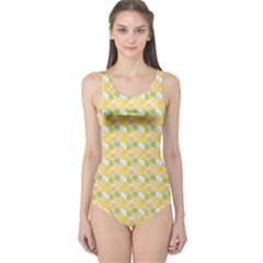 Green Pineapple Juce Pattern Colorful Women s One Piece Swimsuit by CoolDesigns