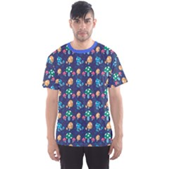 Blue Mushroom Plant Stylish Pattern Men s Sport Mesh Tee by CoolDesigns