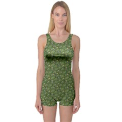 Green Cartoon Decorative Ethnic Feathers Pattern Women s One Piece Swimsuit by CoolDesigns