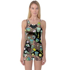 Colorful Crazy Owls And Some Tasty Things Women s One Piece Swimsuit by CoolDesigns
