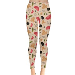 Colorful Pizza Pattern On Beige Stylish Design Leggings by CoolDesigns
