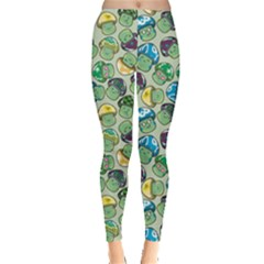 Green Mushroom Pattern Stylish Design Leggings by CoolDesigns