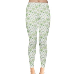 Green Pattern With Light Pink Hearts Leggings