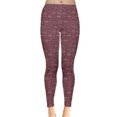 Purple Food Line Icon Circle Pattern Set Leggings by CoolDesigns