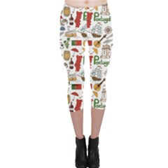 Colorful Fun Colorful Sketch Portugal Pattern Capri Leggings by CoolDesigns