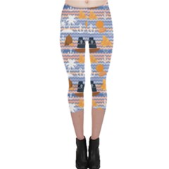 Blue Marine Palms Anchor Steering Wheel Pirate Flag Gold Pattern Capri Leggings by CoolDesigns
