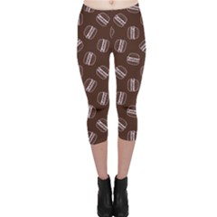 Black Doodle Hamburger Pattern Capri Leggings
