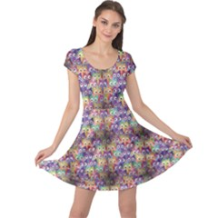 Purple Owls Pattern Cap Sleeve Dress