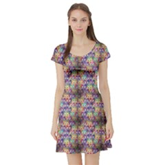 Purple Owls Pattern Short Sleeve Skater Dress by CoolDesigns