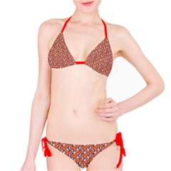 Red Cartoon Bull Terrier Pattern Bikini Set by CoolDesigns