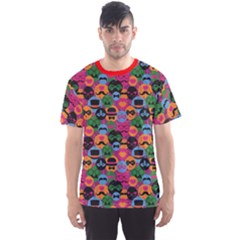 Red Celebration Festive With Carnival Icons Objects Pattern Men s Sport Mesh Tee by CoolDesigns