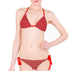 Red Heart Pattern On Red Bikini Set by CoolDesigns