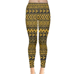 Golden Tribal Aztec Leggings by CoolDesigns