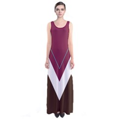 Burgundy Chevron Sleeveless Maxi Dress by CoolDesigns