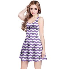 Purple Sailor Tile Pattern With Anchor On Sleeveless Skater Dress by CoolDesigns