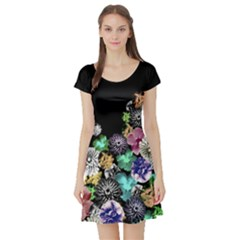 Colorful Vintage Floral Short Sleeve Dress
