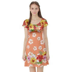 Orange Hawaii Short Sleeve Skater Dress by CoolDesigns