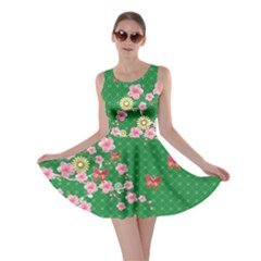 Green Blossom Skater Dress by CoolDesigns