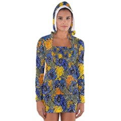 Floral Pattern Background Women s Long Sleeve Hooded T Shirt by Simbadda
