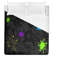 Black Camo Spot Green Red Yellow Blue Unifom Army Duvet Cover (queen Size) by Alisyart