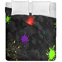 Black Camo Spot Green Red Yellow Blue Unifom Army Duvet Cover Double Side (california King Size) by Alisyart