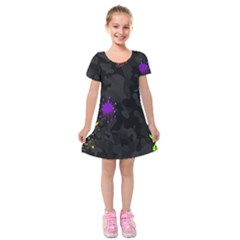 Black Camo Spot Green Red Yellow Blue Unifom Army Kids  Short Sleeve Velvet Dress by Alisyart