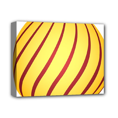 Yellow Striped Easter Egg Gold Deluxe Canvas 14  X 11  by Alisyart