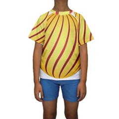 Yellow Striped Easter Egg Gold Kids  Short Sleeve Swimwear
