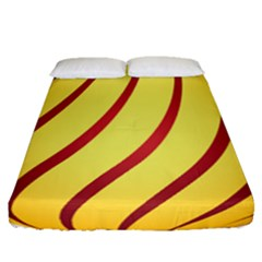 Yellow Striped Easter Egg Gold Fitted Sheet (queen Size)