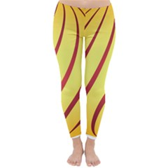 Yellow Striped Easter Egg Gold Classic Winter Leggings