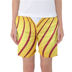 Yellow Striped Easter Egg Gold Women s Basketball Shorts by Alisyart