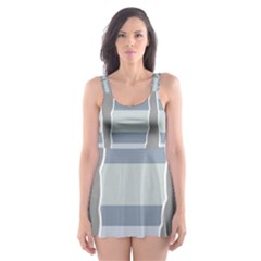 Cavegender Pride Flag Stone Grey Line Skater Dress Swimsuit by Alisyart